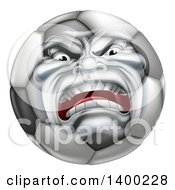 Clipart Of A Furious Soccer Ball Character Mascot Royalty Free Vector Illustration by AtStockIllustration