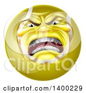 Clipart Of A Furious Tennis Ball Character Mascot Royalty Free Vector Illustration by AtStockIllustration