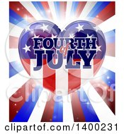Clipart Of A Fourth Of July American Flag Heart Over Rays Royalty Free Vector Illustration