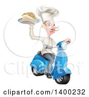 Clipart Of A White Male Chef With A Curling Mustache Holding A Souvlaki Kebab Sandwich On A Scooter Royalty Free Vector Illustration