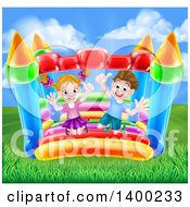 Cartoon Happy Caucasian Boy And Girl Jumping On A Bouncy House Castle