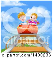 Clipart Of A Happy White Boy And Girl At The Top Of A Roller Coaster Ride Against A Blue Sky With Clouds Royalty Free Vector Illustration by AtStockIllustration