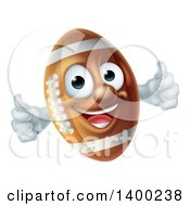 Clipart Of A Happy American Football Character Mascot Giving Two Thumbs Up Royalty Free Vector Illustration by AtStockIllustration