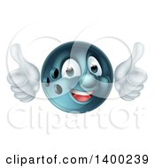 Poster, Art Print Of Happy Bowling Ball Character Mascot Giving Two Thumbs Up