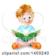 Clipart Of A Happy Blond Caucasian School Boy Reading A Book On The Floor With Magical Light Royalty Free Vector Illustration