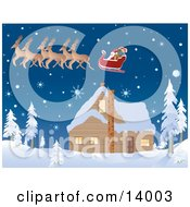 Santas Reindeer Pulling His Sleigh While Flying Over A House Covered In Snow On The Night Before Christmas Clipart Illustration by Rasmussen Images