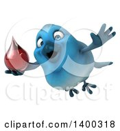 Clipart Of A 3d Bluebird On A White Background Royalty Free Illustration