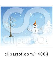 Friendly Snowman With Eyes Of Coal And A Carrot Nose Wearing An Orange Hat And Standing Between A Bare Tree And Snow Flocked Evergreens Clipart Illustration