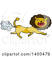 Clipart Of A Cartoon Farting Male Lion Royalty Free Vector Illustration by lineartestpilot