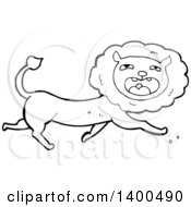 Clipart Of A Cartoon Black And White Male Lion Royalty Free Vector Illustration