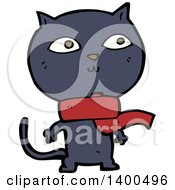 Clipart Of A Cartoon Black Kitty Cat Wearing A Scarf Royalty Free Vector Illustration