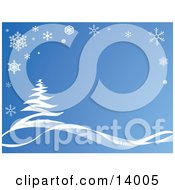 Snowflakes Bordering A Scene Of A Snow Flocked Tree In The Winter Blue Tones Clipart Illustration