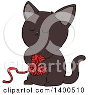 Clipart Of A Cartoon Kitty Cat Playing With A Ball Of Yarn Royalty Free Vector Illustration