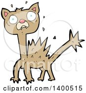 Clipart Of A Cartoon Scared Kitty Cat Royalty Free Vector Illustration