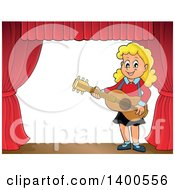 Happy Blond Caucasian Girl Playing A Guitar On Stage