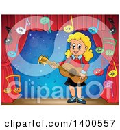 Clipart Of A Happy Blond Caucasian Girl Playing A Guitar With Music Notes On Stage Royalty Free Vector Illustration by visekart