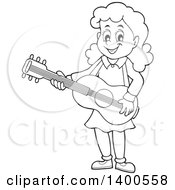 Clipart Of A Happy Black And White Lineart Girl Playing A Guitar Royalty Free Vector Illustration by visekart