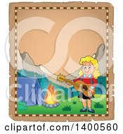 Clipart Of A Parchment Border Of A Happy Blond Caucasian Girl Playing A Guitar By A Campfire Royalty Free Vector Illustration by visekart