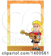 Clipart Of A Border Of A Happy Blond Caucasian Girl Playing A Guitar Royalty Free Vector Illustration by visekart