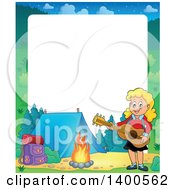 Clipart Of A Border Of A Happy Blond Caucasian Girl Playing A Guitar By A Campfire Royalty Free Vector Illustration by visekart