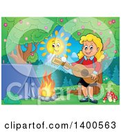 Happy Blond Caucasian Girl Playing A Guitar By A Campfire