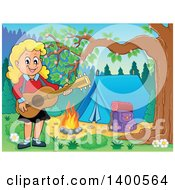 Clipart Of A Happy Blond Caucasian Girl Playing A Guitar By A Campfire Royalty Free Vector Illustration by visekart