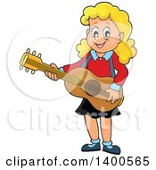 Clipart Of A Happy Blond Caucasian Girl Playing A Guitar Royalty Free Vector Illustration