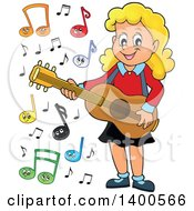 Happy Blond Caucasian Girl Playing A Guitar With Music Notes