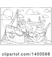 Black And White Lineart Fisherman On A Boat
