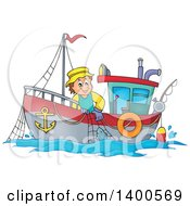 Clipart Of A Caucasian Fisherman On A Boat Royalty Free Vector Illustration