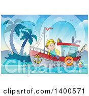 Clipart Of A Caucasian Fisherman On A Boat Near An Island Royalty Free Vector Illustration