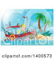 Caucasian Fisherman On A Boat Near An Island