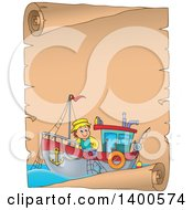 Parchment Border Of A Caucasian Fisherman On A Boat
