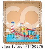 Parchment Border Of A Caucasian Fisherman On A Boat Near A Lighthouse