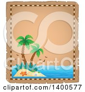 Clipart Of A Parchment Border Of A Tropical Island With Palm Trees Royalty Free Vector Illustration