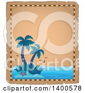 Parchment Border Of A Tropical Island With Palm Trees
