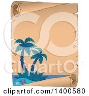Clipart Of A Parchment Scroll Border Of A Tropical Island With Palm Trees Royalty Free Vector Illustration