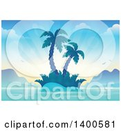 Clipart Of A Tropical Island With Palm Trees And Sun Rays Royalty Free Vector Illustration