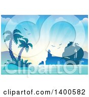 Clipart Of A Silhouetted Ship Near A Lighthouse And Tropical Island With Palm Trees Royalty Free Vector Illustration