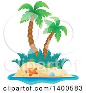 Clipart Of A Tropical Island With Palm Trees Royalty Free Vector Illustration by visekart