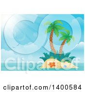Tropical Island With Palm Trees And Sun Rays