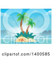 Clipart Of A Tropical Island With Palm Trees And Sun Rays Royalty Free Vector Illustration by visekart