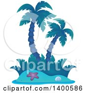 Clipart Of A Tropical Island With Palm Trees In Blue Tones Royalty Free Vector Illustration