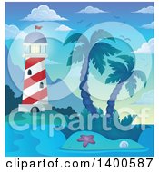 Clipart Of A Tropical Island With Palm Trees And A Lighthouse Royalty Free Vector Illustration