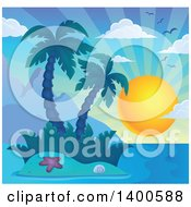 Tropical Island With Palm Trees And A Sun
