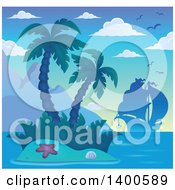 Clipart Of A Silhouetted Ship Near A Tropical Island With Palm Trees Royalty Free Vector Illustration by visekart