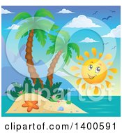 Clipart Of A Happy Sun By A Tropical Island With Palm Trees Royalty Free Vector Illustration by visekart