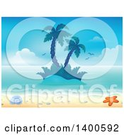 Clipart Of A Background Of A Sandy Beach With Palm Trees On An Island A Shell And Starfish Royalty Free Vector Illustration by visekart