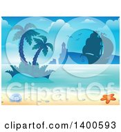Clipart Of A Background Of A Sandy Beach With Palm Trees A Boat Lighthouse Shell And Starfish Royalty Free Vector Illustration by visekart