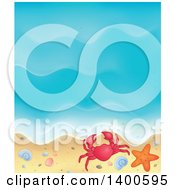 Clipart Of A Background Of Ocean Waves On A Sandy Beach With Pebbles A Shell Crab And Starfish Royalty Free Vector Illustration by visekart